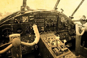 Cockpit of an old biplane