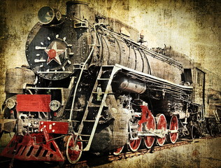 Spoed Fotobehang Rood, zwart, wit Grunge steam locomotive