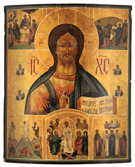 Antique orthodox icon. Jesus Christ with scenes from The Gospel.