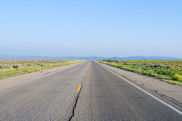 Middle of Empty Road Rural Taos New Mexico