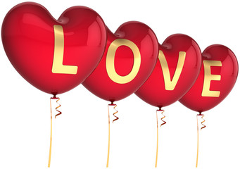 Red balloons as heart shapes decorated with golden Love word