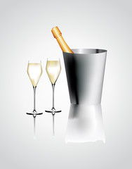 Vector illustration. Two glasses of champagne and bottel.