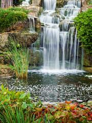 Waterfall in London park, Kew Gardens