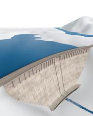 Photo sur Plexiglas Barrage Staudamm in abstrakter, stilisierter Landschaft