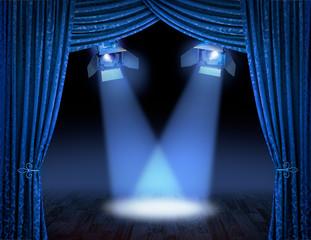 Blue spotlight beams premiere