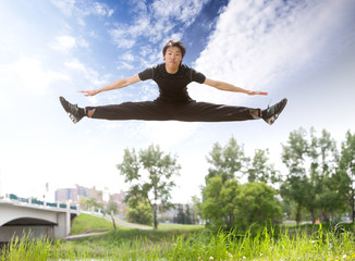 Man jumping in the air