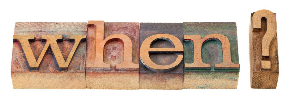 when question in letterpress type