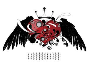 Heart scarlet wings