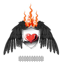 Heart, the flame shield, wings