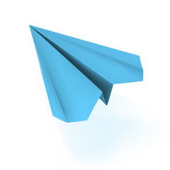 vector blue origami plane