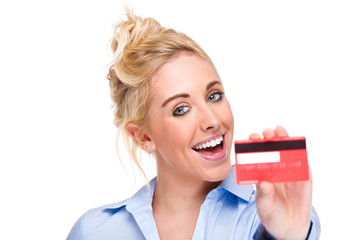 Attractive Young Woman Using and Showing Bank Credit Card