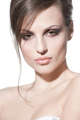 Face of a sexy young brunette woman with perfect skin