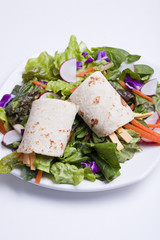 Tortilla wrap on top of salad.