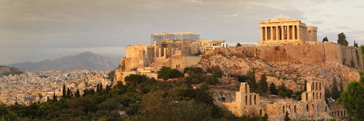 Spoed Fotobehang Athene acropolis panoramic view