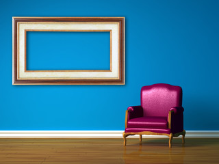 Purple chair with empty frame in blue minimalist interior