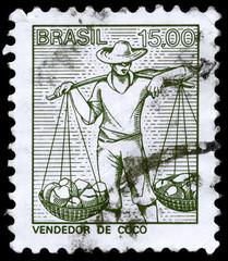 BRAZIL - CIRCA 1978 Coconuts Seller