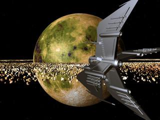 Gelber Planet mit Raumschiff