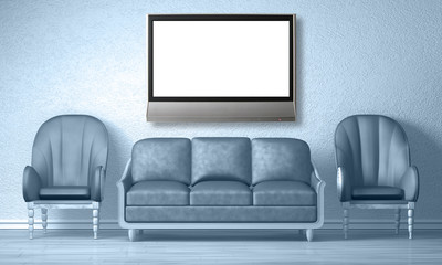 Two luxurious chairs with couch and lcd tv in blue interior