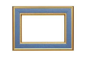 Gold-light blue frame isolated on white background
