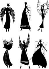 Set Of Vector Silhouette Beautiful Fairy Flying Angels