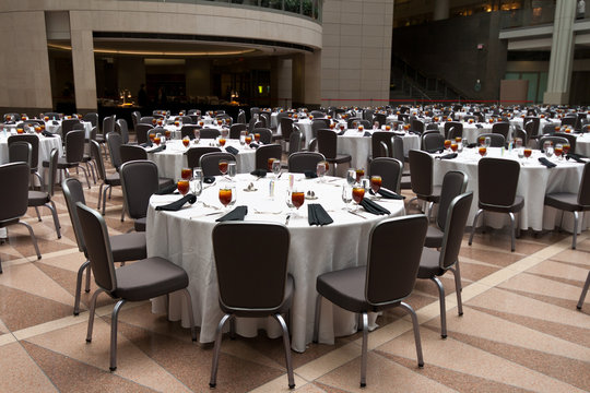 Large Room Set Up for a Banquet, Round Tables