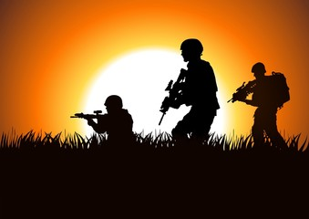 Aluminium Prints Military Silhouette illustration of soldiers on the field