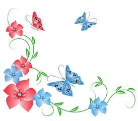Flowers ornament with butterfly