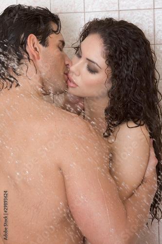 Man women in shower naked