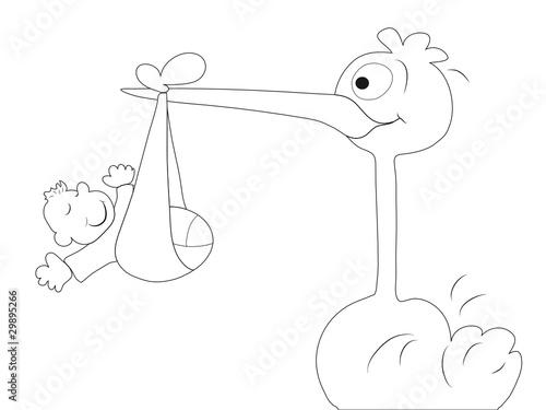 Malvorlage Klapperstorch Bringt Baby Stockfotos Und Lizenzfreie