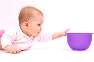 Little child baby and tableware