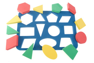 Children's game with color geometric shapes