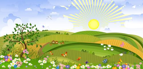 Zelfklevend Fotobehang Vlinders Country Landscape