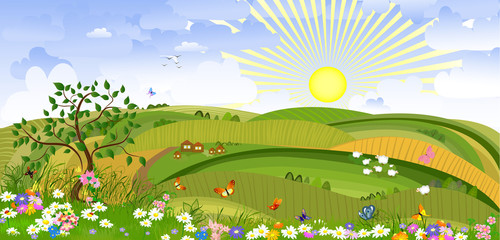 Keuken foto achterwand Vlinders Country Landscape