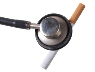 Cigarette and stethoscope