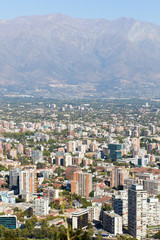 Cityscape of Santiago from St. Cristobal hill. Chile, South Amer
