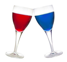 Blue and red liqueur