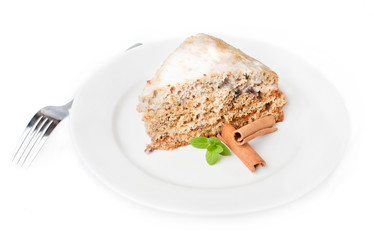 nice cake with mint and cinnamon  isolated on white