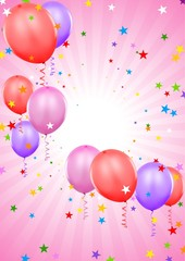 Party Balloons - colored background illustration