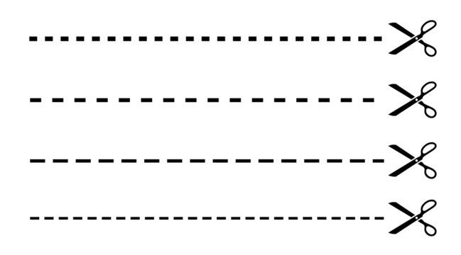Vector cut lines with scissors