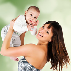 Pretty young women with her son
