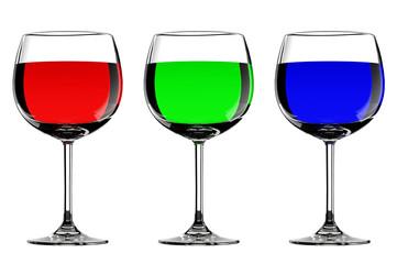 Three RGB wine glasses
