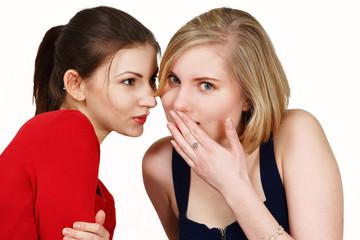 Two females share secret or gossip