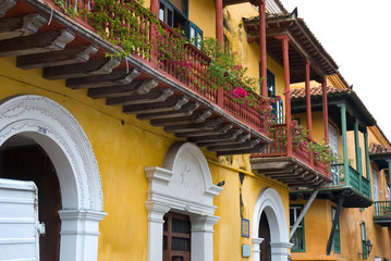 Facade of old buildings. Cartagena, Colombia.