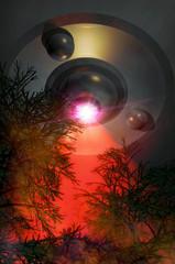 ufo alien forest
