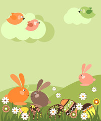 Spring easter landscape with eggs and rabbits
