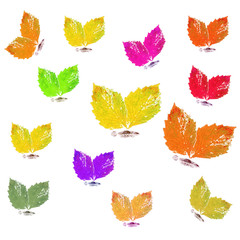 Butterflies from leaves, watercolor
