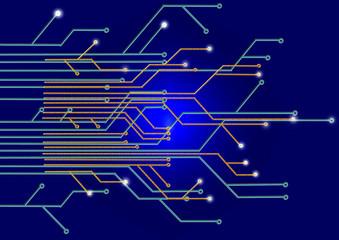 Circuit Board on a dark blue background