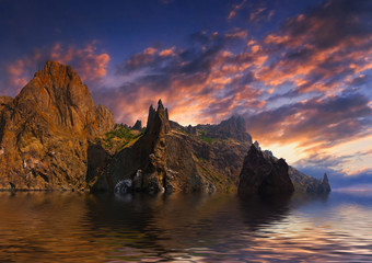 Surreal seascape with high cliffs. Sunset