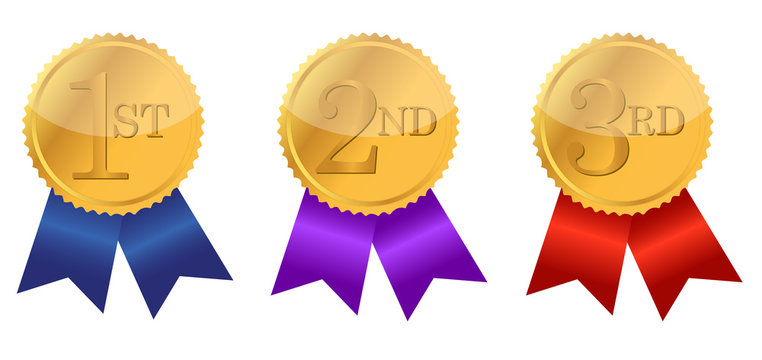 gold award ribbons with place numbers
