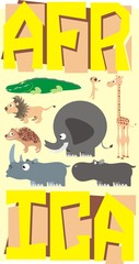 African animals poster colorful vector illustration